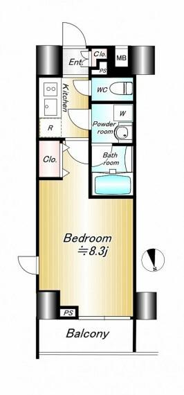 間取り図 8.3帖の洋室がある1Kタイプです。