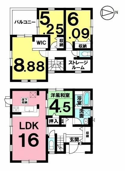 間取り図 ~たっぷり収納できるストレージルームを活用してスッキリとした居住空間~