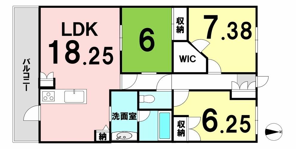 間取り図 全居室6帖以上の広々3LDK! 南向きバルコニーにLDKと繋がる和室もあります!