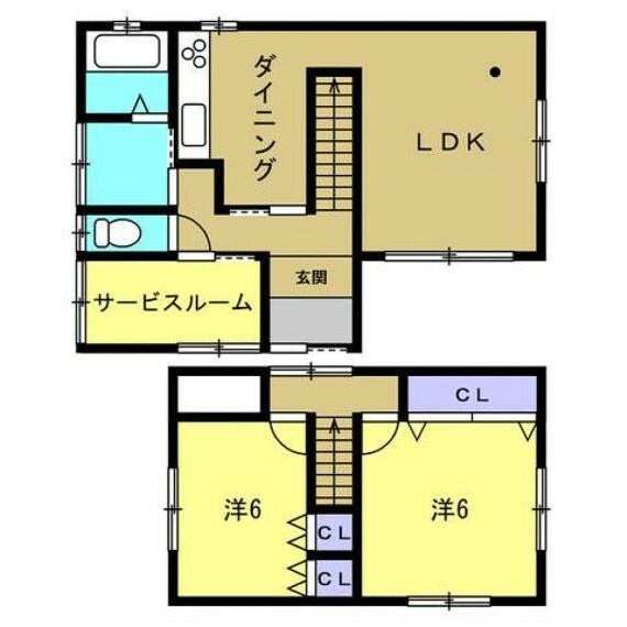 間取り図 【間取り】リフォーム後の間取りです。全居室洋室の2LDKです。2人から3人で住む方にお勧めです。