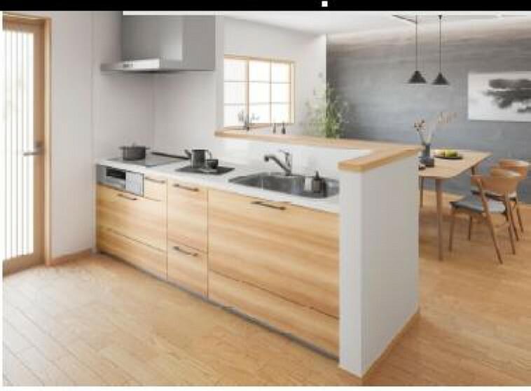 【同仕様写真】キッチンは永大産業製の新品に交換します。天板は人造大理石製なので、熱に強く傷つきにくいため毎日のお手入れが簡単です。