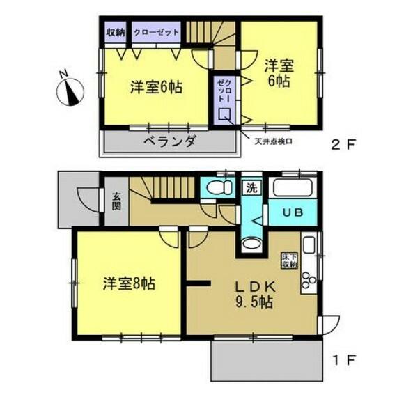 間取り図 【間取り図】リフォーム後の間取りです。間取り変更を行いリビングと洋室3部屋の3LDKに生まれ変わります。外壁屋根塗装、水回り全て新品交換し、住み心地の良い住宅になりますよ。