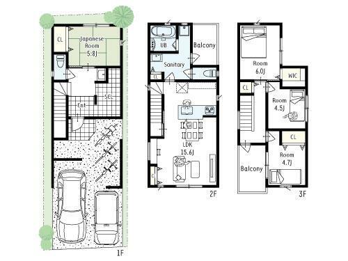 間取り図 プラン図■1号地プラン図■間口広々、駐車場2台プラン。玄関には大きなシューズクローゼットも完備で収納充実!水回りは2階に集められ、家事同線も取れたママにも嬉しいプランです!