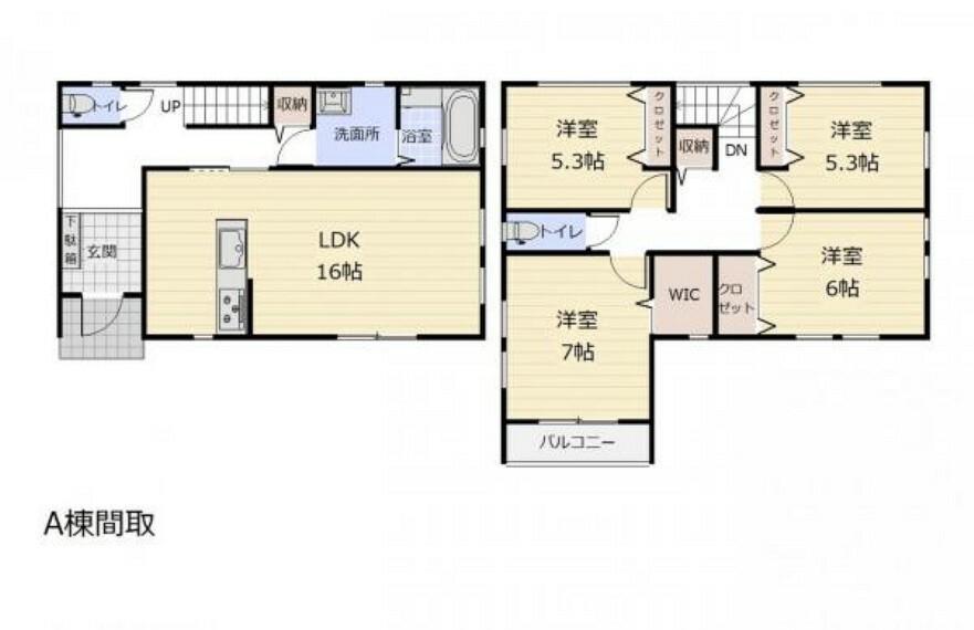 間取り図 (間取)全室フローリングでお掃除ラクラク!使い勝手の良い全居室2階の間取です!