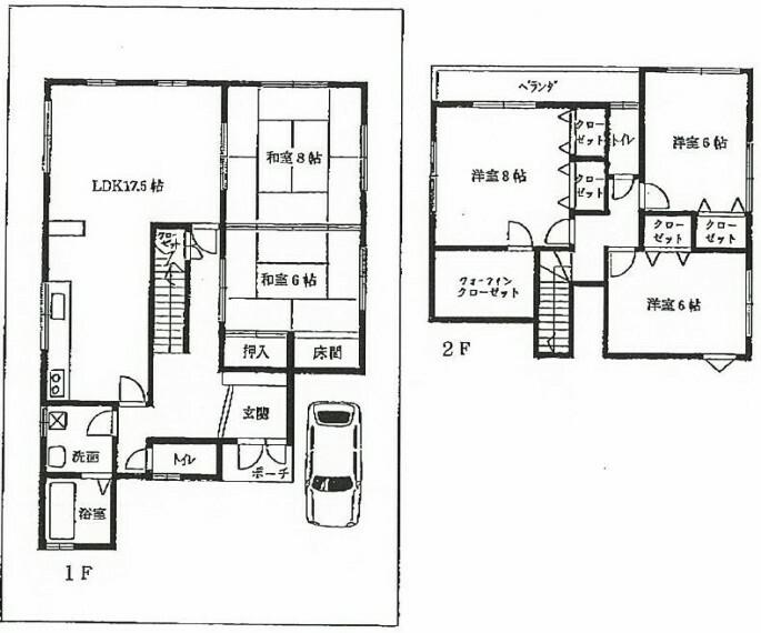 間取り図 グリーンヒルいずみ寺門内。サンディ350m。土地48.87坪。全居室6帖以上・部屋数の多い5LDK。
