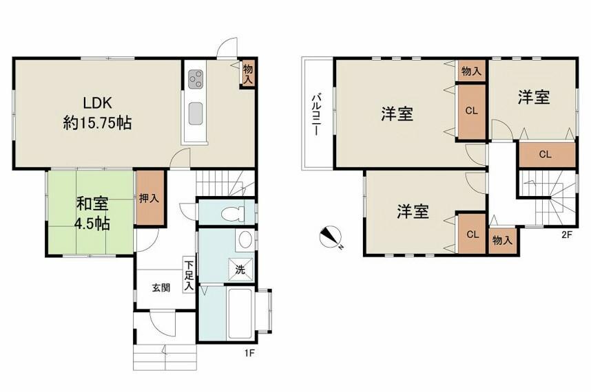間取り図 閑静な住宅地。土地46.86坪。フジ住宅施工・家全居室収納付きの4LDK。室内きれいにお使いです。