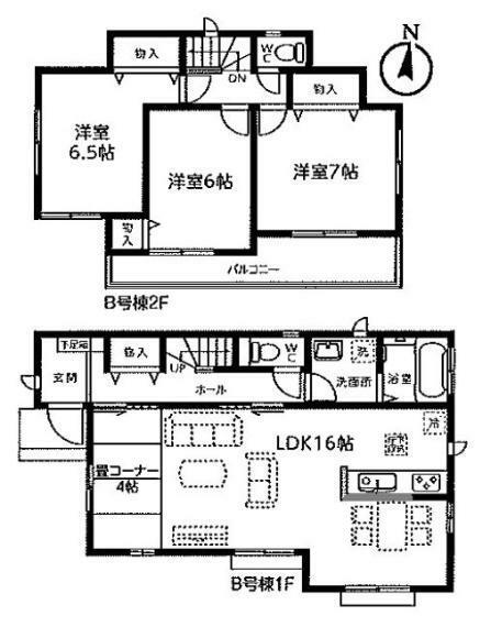 間取り図 【B号棟間取り図】3LDK 建物面積97.29平米(29.48坪)