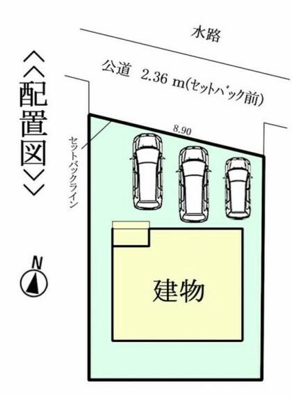 区画図 並列3台駐車可能!(車種による)