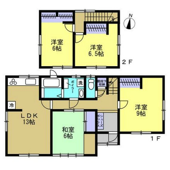 間取り図 【リフォーム予定間取図】1階:LDK13帖、和室6帖、洋室9帖 2階:洋室6.5帖、洋室6帖 浴室・洗面所は一坪に拡張します。