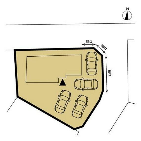 区画図 【配置図】普通車4台駐車可能です。現状北側3mほどの間口ですが、東側の植栽を撤去し切り下げを行い、間口を広げ車の出入りをしやすくします。