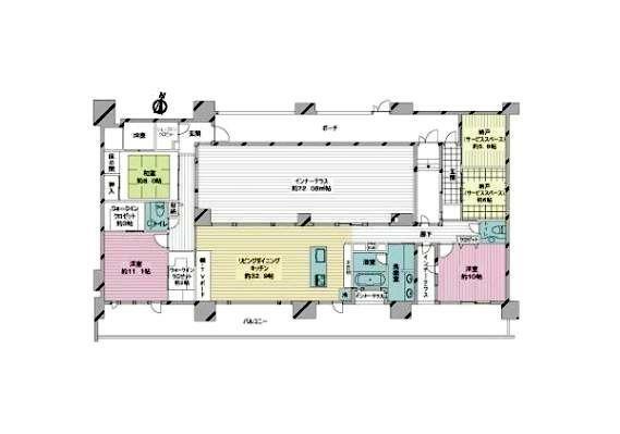 区画図 3LDK+2S 専有面積 壁芯 186.00平米(56.26坪)