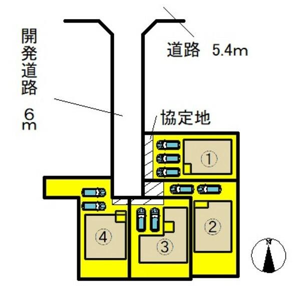 区画図 ●本物件は1号棟です● 並列駐車3台可能!