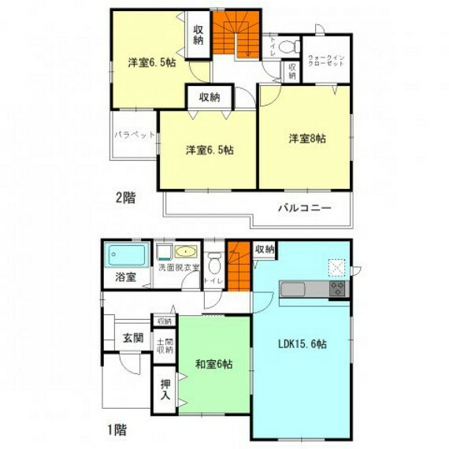 間取り図 15帖超LDK+全居室6帖以上の広々間取り  ウォークインクローゼットやパントリーなど各所に収納充実!