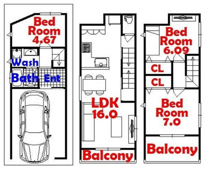 間取り図 3LDK/L字型キッチン/広びろバルコニー
