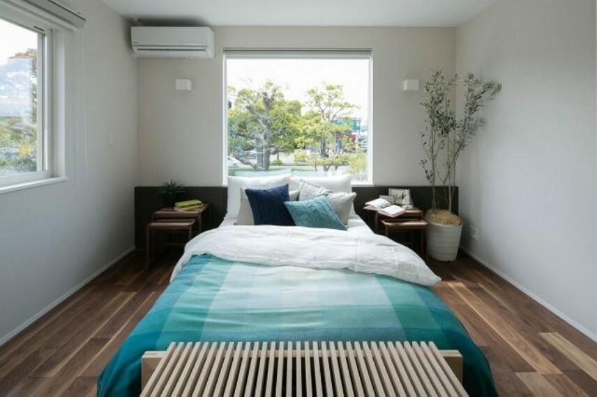 寝室 施工例、落ち着きのある寝室
