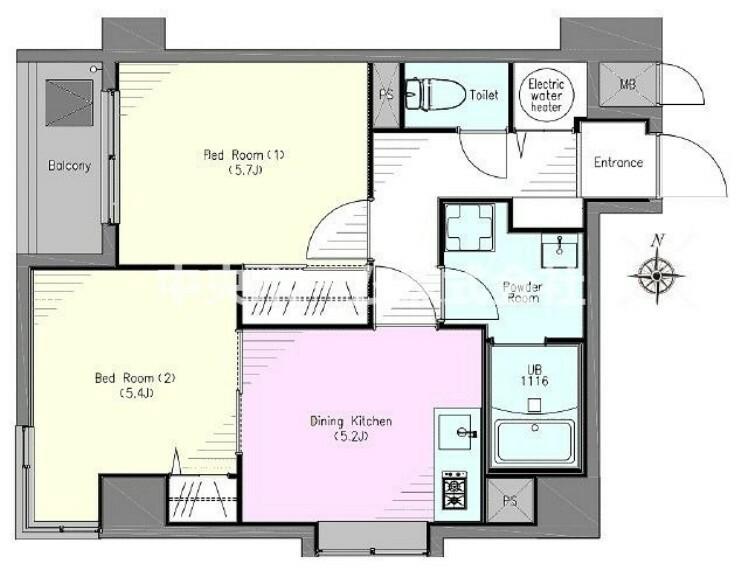 間取り図 5階部分・南西角部屋住戸につきまして日当たり・通風良好です。新規フルリノベーションマンション。