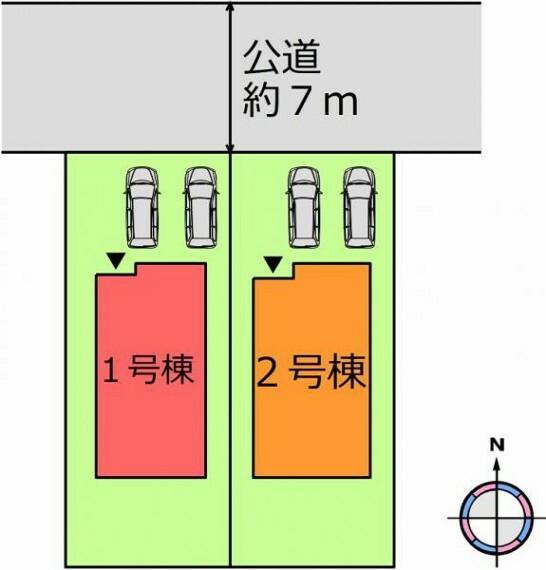 区画図 (区画)2台駐車可能!前面道路も広いので運転が苦手な方も安心ですね^^