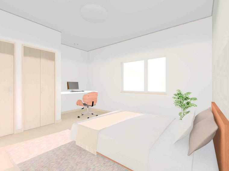 寝室 【ラナーク 主寝室パース】 主寝室にはカウンターテーブルを備えました。 テレワークや趣味のワークスペースとしてお使い頂けます。 そして、ウォークインクローゼットは広々4.5帖分!