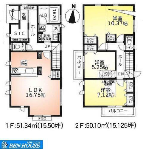 間取り図 1号棟(3期)間取図・二面のバルコニーございます・2階約10帖の居室は将来仕切って二部屋としてのご利用も可能です・大容量シューズインクローゼット・小屋裏収納もございます