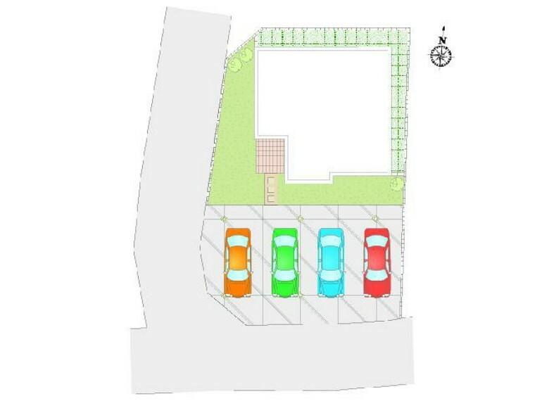 区画図 A号棟:配置図・・・4台駐車可能。お友達が遊びに来ても安心ですね。