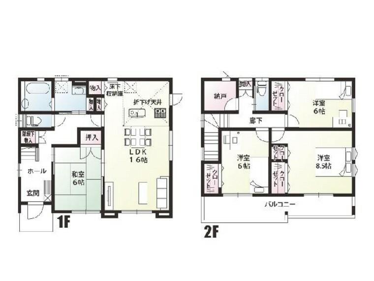 間取り図  K号棟:間取り図・・・各お部屋には収納があり2階には納戸があるので家族にもの、季節の物が綺麗に収納できます。