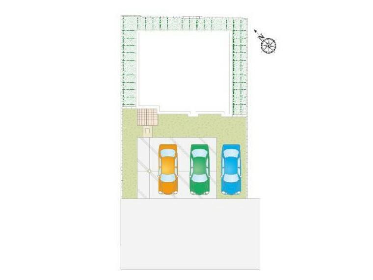 区画図  K号棟:配置図・・・駅近なのに駐車スペースは3台分もあるので来客の時も安心です。