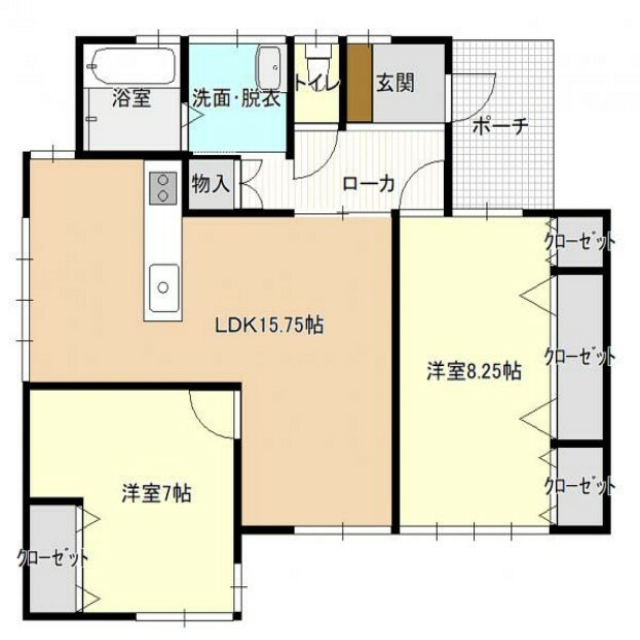 間取り図 [リフォーム済]広くて明るいリビングと収納力のある2つの洋室にリフォームしました。2~4人でのお住いにおススメです。