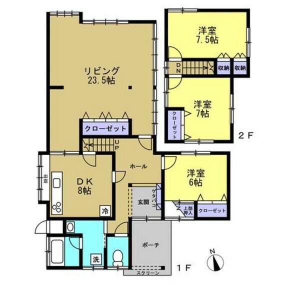 間取り図 【リフォーム完成間取り図】1階和室の続き間を解体して、リビングに間取り変更します。和室のお部屋はすべて洋室に。生活のしやすい間取りになりますよ。