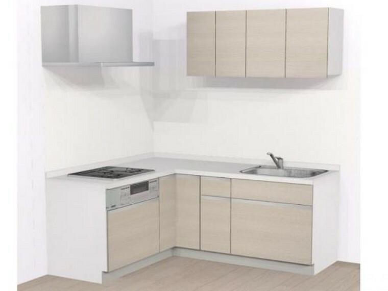 キッチン 【リフォーム中】ハウステックのシステムキッチンに交換します。天板は熱や傷にも強い人工大理石仕様なので、毎日のお手入れが簡単です。