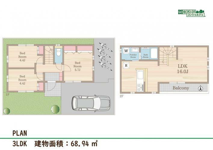 区画図 《参考プラン》建物面積 68.94m2建物価格 1460万円総額 3440万円