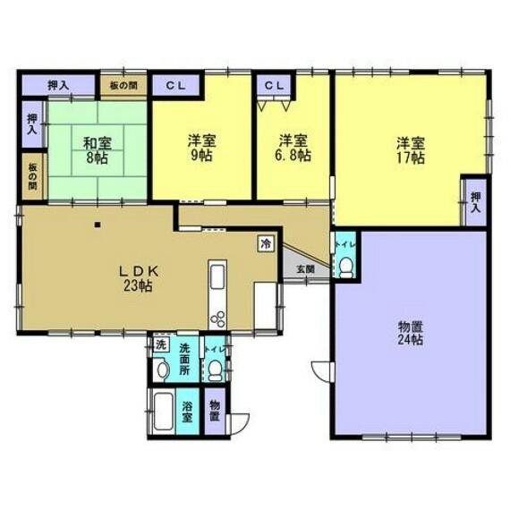 間取り図 【リフォーム中】間取り図です。個室4部屋の4LDKです。リフォームで対面キッチンに変更します。家族を見ながら料理ができますね。