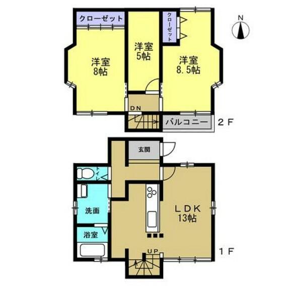 間取り図 【リフォーム前間取り図】二階にあった洗面所や浴室を一階に降ろし、生活しやすいコンパクトな住宅にリフォームします。