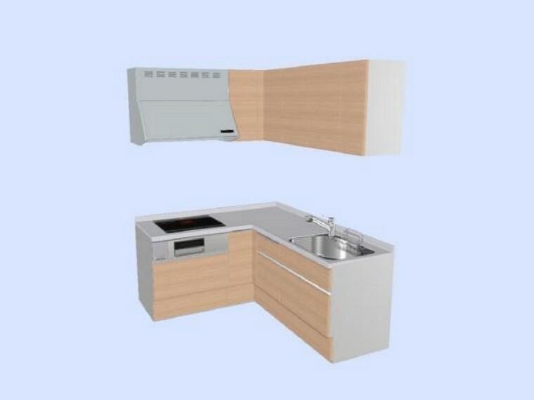 キッチン 【同仕様写真】新品LIXIL製のL型システムキッチンの天板は人工大理石で傷付きにくく、収納はたっぷり入り便利な引出式です。(扉色は写真とは違うラスティックアッシュ色予定)