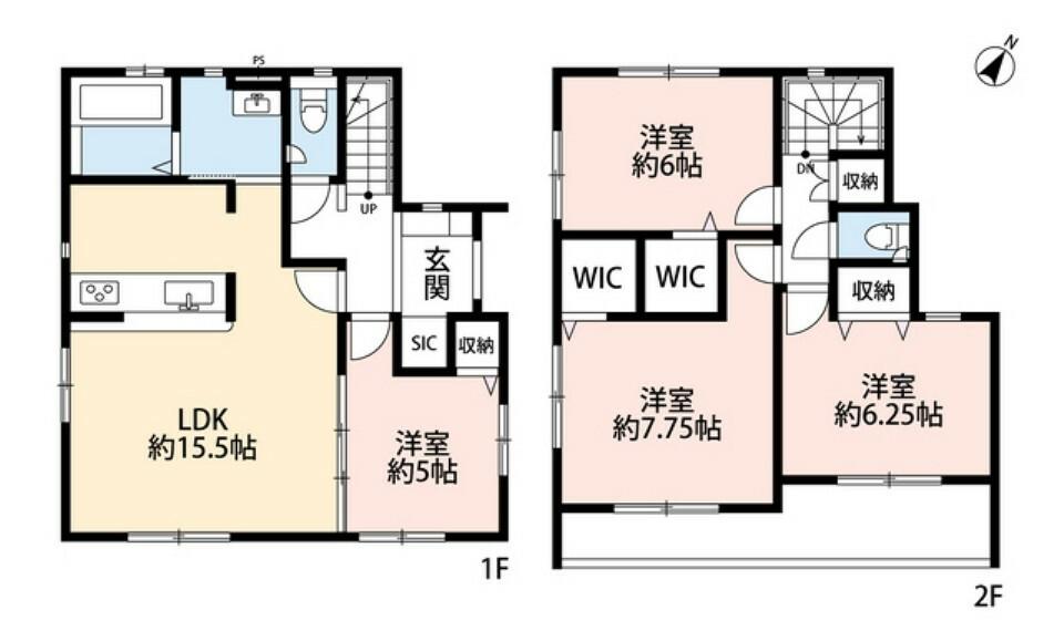 間取り図 4LDKとウォークインクローゼットでゆとりのある暮らしが実現。2階の洋室は全居室6帖以上です。オールフローリングの物件をお探しの方にもオススメです。
