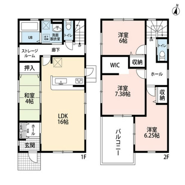 間取り図 4LDKとウォークインクローゼット、ストレージルームでゆとりのある暮らしが実現。リビングは隣にある和室を合わせると20帖の開放感あふれる空間です。
