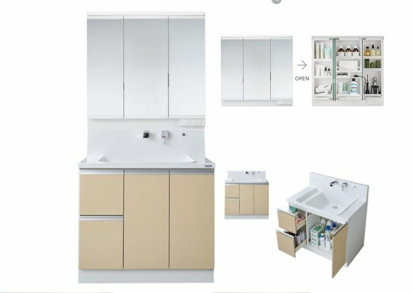 【洗面】 使いやすくスッキリ収納できる工夫が詰まった、三面鏡洗面化粧台です。