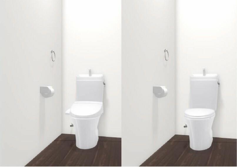 【トイレ】 シンプルだからこそ、使いやすいトイレに 便器のフチを丸ごとなくし、サッとひと吹き。