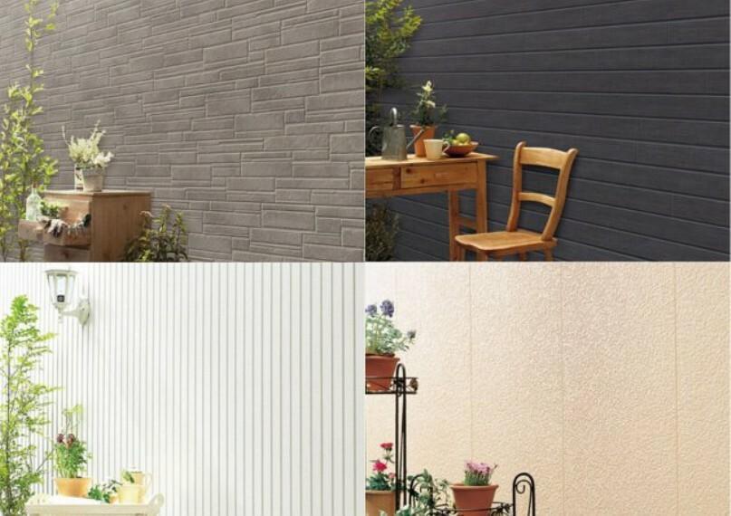 【外壁サイディング】 薄い水分子膜により汚れを直接外壁素材に付着させずに浮かし、 雨が降る事で洗い流す事が可能なセルフクリーニング効果を発揮します。