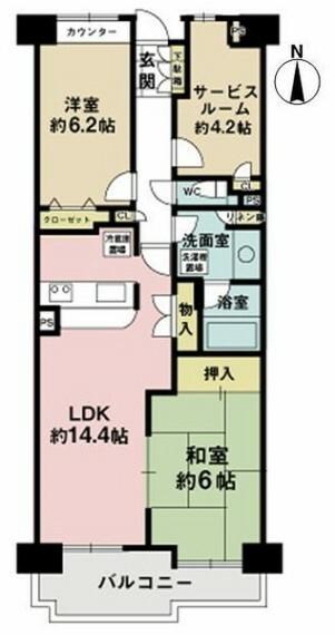 間取り図 4階部分の2SLDK間取り!