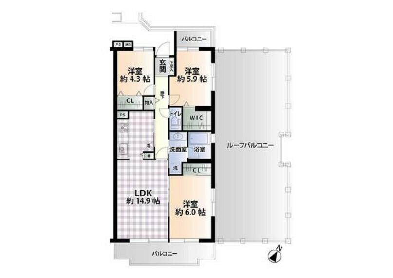 間取り図 9階最上階、南東向きの3LDKです! キッチンはリビングダイニングと分かれているので、お料理中の臭いがお部屋にこもらず快適にお過ごし頂けます!