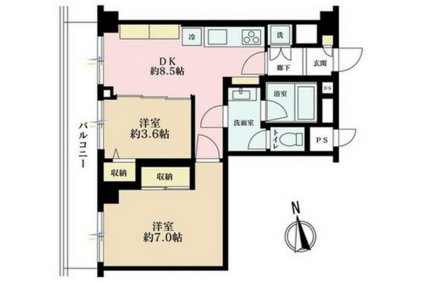 間取り図 1LDK、価格3080万円、専有面積42.87m2