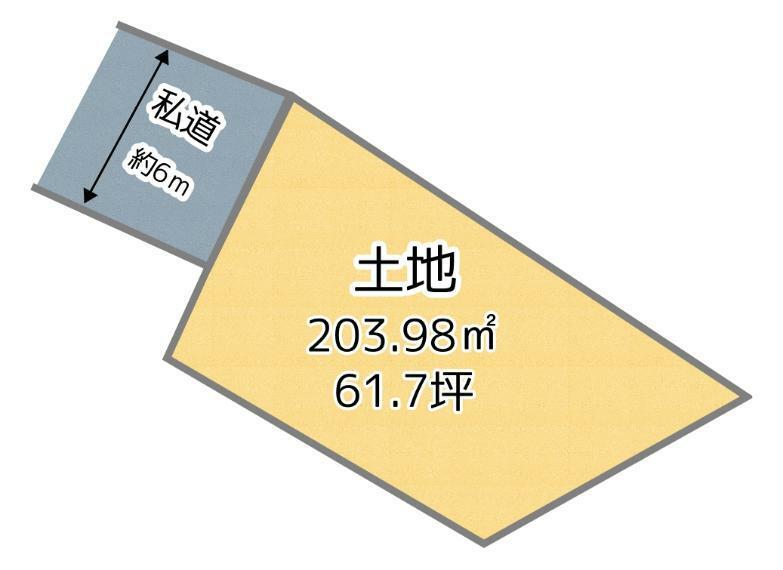 土地図面 敷地面積約61坪でゆったりサイズです!