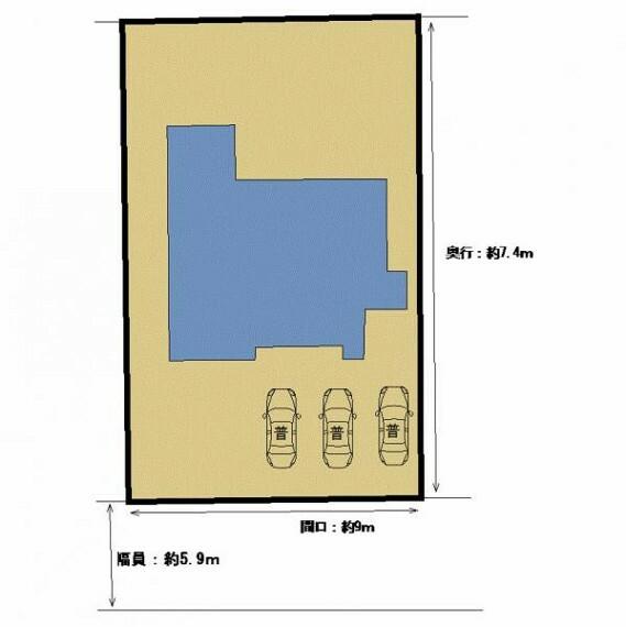 駐車場 【リフォーム中】普通車並列で3台駐車可能です。間口約9m、奥行約7.4mとゆとりのあるスペースがあるので駐車も楽ですよ。