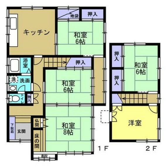 間取り図 【リフォーム前】現況間取り図です。南側の和室続き間をリビングダイニングに、北側の和室はキッチンスペースにします。現況キッチンスペースは居室にして3LDKの間取りにします。南側にリビングがあると日が差していいですよね。