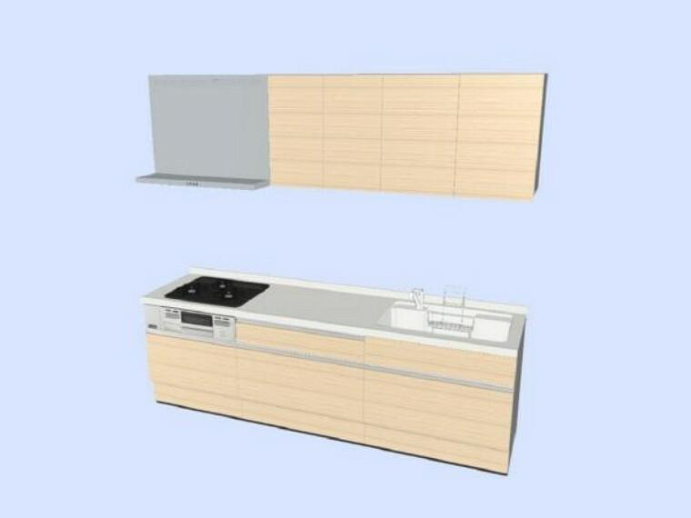 キッチン 【同仕様写真】キッチンはハウステック製の新品に交換します。引出が5つの嬉しい多収納タイプ。天板は熱や傷にも強い人工大理石仕様なので、毎日のお手入れが簡単です。