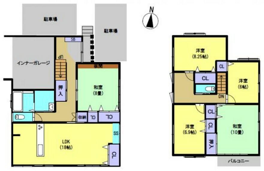 間取り図 南向きのリビングと2階には居室が4部屋あり、4~6人家族で暮らせる5LDKの物件です。リビングや水回りが近いので、家事の移動の負担が減りますね。