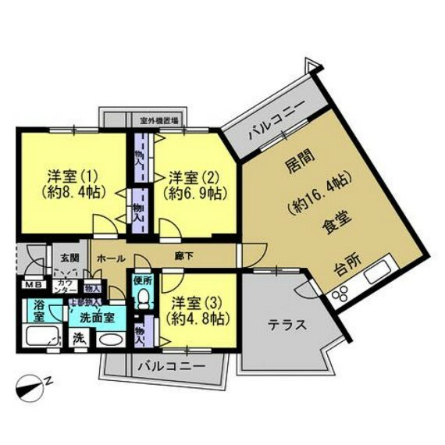 間取り図 【間取図】3LDKの間取りです。洋室が3部屋なのでお子様のお部屋やベッドを置く寝室を確保しやすいです。2面バルコニー、広々としたテラスとリビングが自慢のお家です。