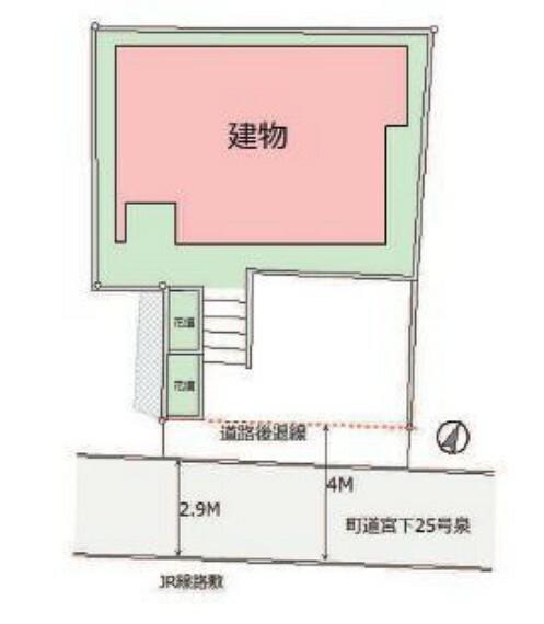 区画図 敷地約36坪、カースペース1台分ございます。