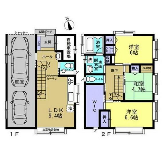 間取り図 間取は3LDKの2階建て。