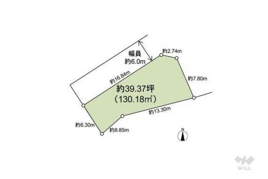 区画図 敷地面積は約39坪で、敷地の北西側と北東側が接道している角地です。敷地と道路の高低差がある宅地です。
